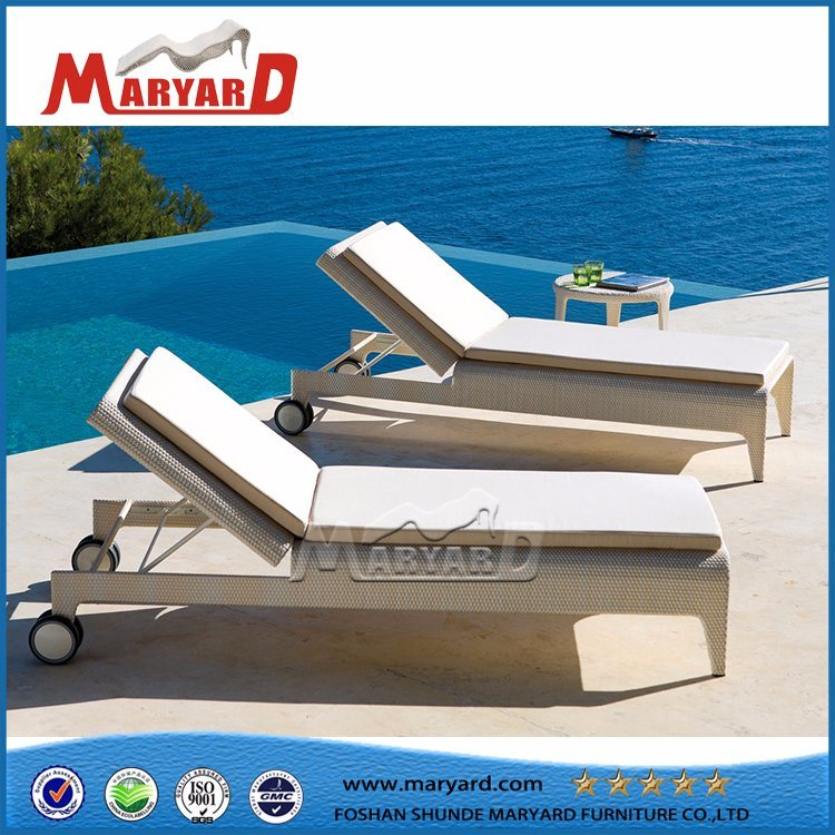 Hot Selling Aluminum Frame Furniture Rattan Double Lounger with Wheels