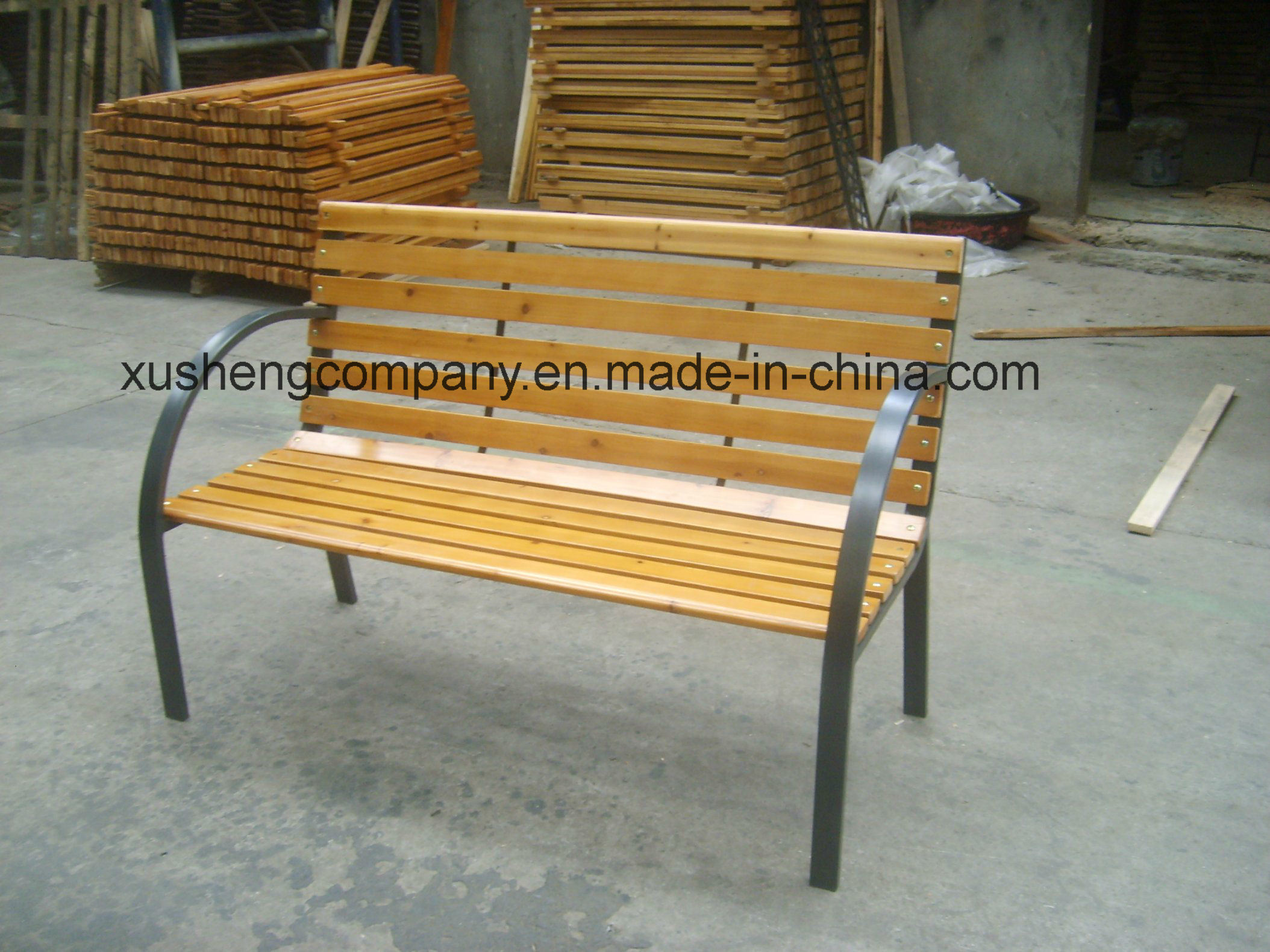 Outdoor Cast Iron and Wood Garden Bench Park Chairs