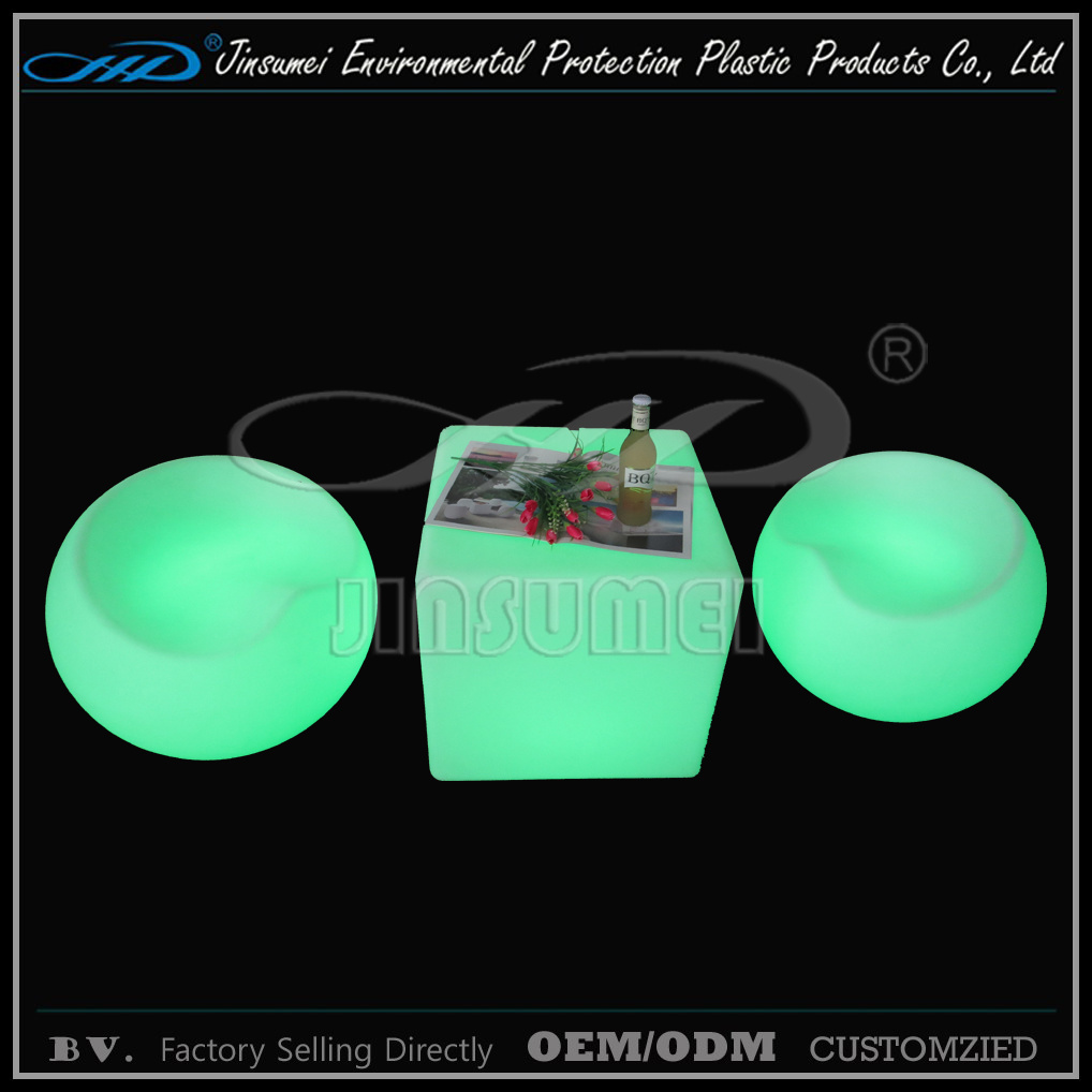 Rechargeable Colorful Plastic Shell Garden Furniture with BV
