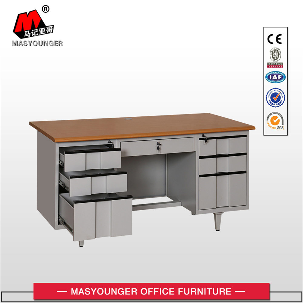 Wooden Office Metal Furniture Workstation Normal Use 6 Drawer Melamine Board Desk Table