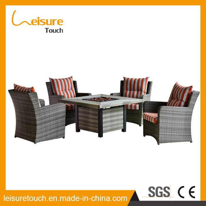 Modern Durable Rattan Plastic Wood Home/Hotel Table and Chair Fire Pit Garden Outdoor Furniture