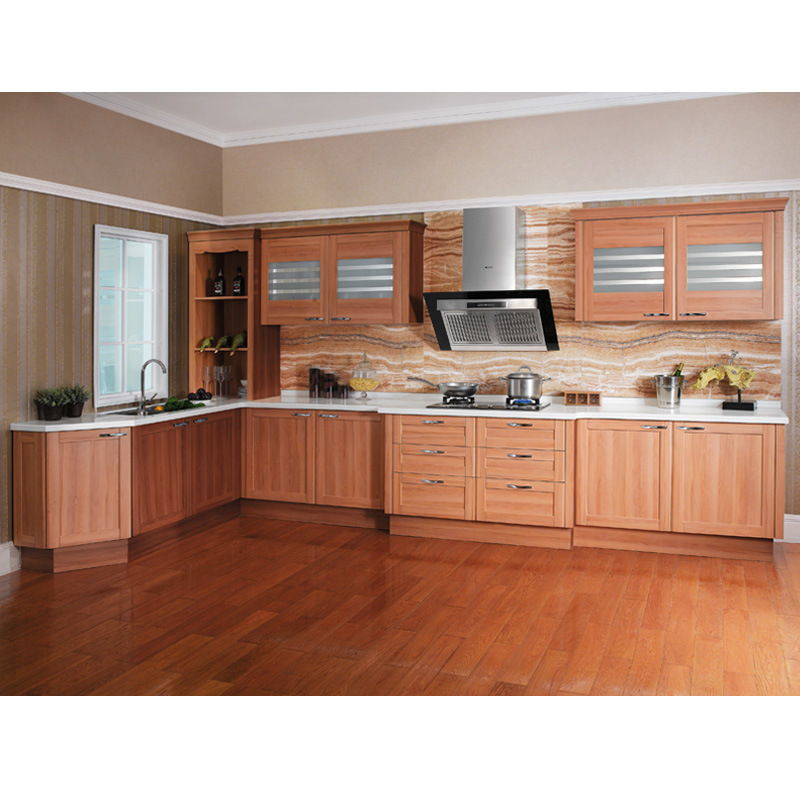 Oppein Wooden Kitchen Cabinet Wrapped PVC Acrylic Finish Design (OP12-X118)