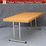 Melamine table Top Stainless Steel Legs Banquet Folding Table Yc-T192-01