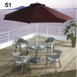 Closed Woven Outdoor Garden PE-Rattan Furniture Dining Table Set with Umbrella & Stackable Chairs with Aluminum Frame