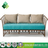 Modern Furniture Metal Armrest Sofa Leisure Sea Blue Fabric Sofa