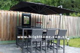 Geneal Rattan Weaving Black Long Bar Table and Chairs