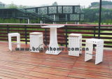 Outdoor Wicker Bar Stools 5PCS Rattan Bar Table and Chairs Set