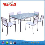 White Textile Glass Top Dining Table Set and Four Chair Dining Table