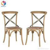 Customize Stackable Oak Wood X Cross Back Dining Chair