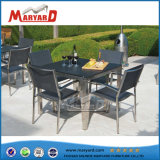 Patio Furniture Ground Glass Table Top Square Table Set