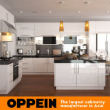 Oppein Manufacturer White L Shaped Lacquer Wood Kitchen Cabinets (OP15-L24)