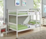 Home Furniture Solid Pine Wood Bunk Bed in White Color for Children