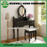 Black Color Wood Dressing Table with Mirror and Stool