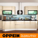Oppein Italy Design Light Golden Acrylic Wooden Kitchen Cabinets (OP14-057)