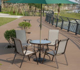 Patio Aluminum Outdoor Home Hotel Office Garden Glass Customized Textilene Dining Chair (J800)