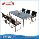 Woven Rattan Chair Glass Top Dining Table Set