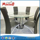 Leather Fabric Chair Transparent Tempered Glass Table Set