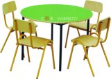 Baby Room Furniture /Children Wood Table with Plastic Chairs /Baby Kids Round Desk for Four Kid's (SF-11K)
