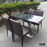 High Glossy Black Solid Surface Top Dining Table Set with 4 Seat
