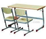 High School Student Two Seats Wooden Steel Desk and Chair