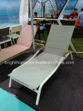 Textilene Daybed with Teak Wood Armrest Outdoor Sunbed Beach Bed Outdoor Lounge