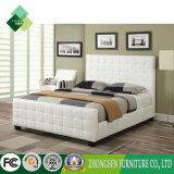 Custom Made White Modern Wooden Hotel Furniture Bedroom Bed Frame (ZBS-865)