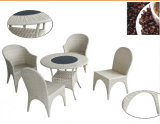 Pretty 5PCS White Rattan Furniture Set