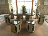 Garden Furniture Stone Table & Chair Polished Surface Granite Grey Stool Chair