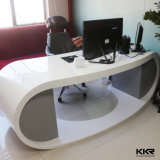 Kkr Small White Solid Surface Salon Modern Reception Desk (180329)