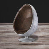 Popular Aviator Swivel Brown Leather Egg Chair