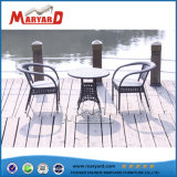 Bistro Rattan Table and Chair Black Outdoor Garden Furniture