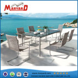 New Design Woven Chair Glass Top Table Set