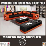 Sectional Wood Frame Furniture Leather Sofa for Living Room