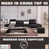 Middle Size Furniture L Shape Sofa with Table Leather
