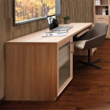 Oppein Wood Grain Computer Desk Table with Glass Door (ST11133A)
