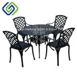 Quality Leisure Cast Aluminum Outdoor Furniture Round Table Dining Set in Black