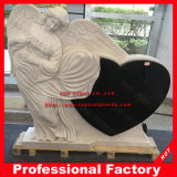 Carved Angel Monument Marble Headstone Tombstone with Heart Memorial