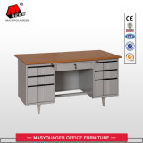 Metal Computer Desk with Six Drawerswooden Top Executive Office Table
