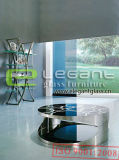 Round Black Painting Tempered Glass Center Table in Stainless Steel Frame