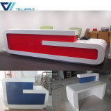 White and Red 2 Person Acrylic Furniture Boutique Modern Curved Stadning Reception Desk