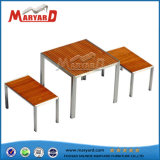 Park Outdoor Teak Table Armless Wooden Chair School Waiting Table Set