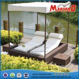 New Design Outdoor Patio Rattan Furniture Sofa Sun Lounger with Tent