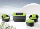 Comfortable Sofa Set Green Cushion and Black Rattan