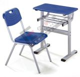 High Quality Single Layer and Double Column School Desk and Chair with Plastic Edge