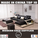 Black Corner Leather Sofa with Chaise