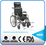 Manufacturer Sale Manual Commode Wheelchair with Backrest