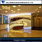 Modern Unique Beauty Standing Luxury LED Marble Acrylic Solid Surface Reception Desk Dimensions Design (TW-MART-026)